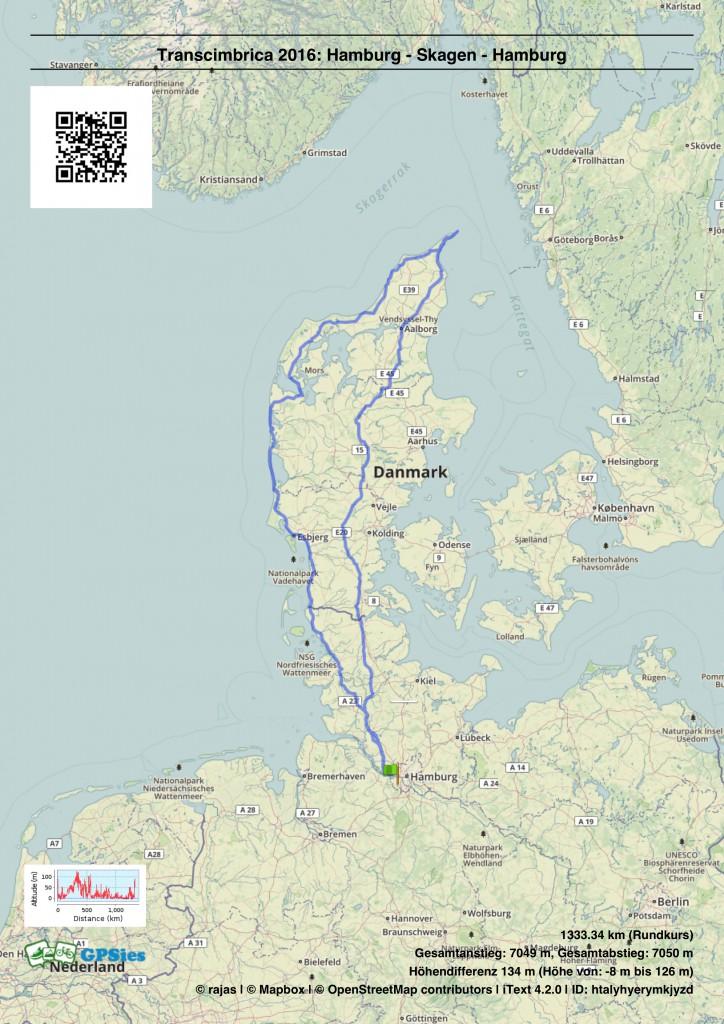 Karte der Transcimbrica Hamburg-Skagen-Hamburg